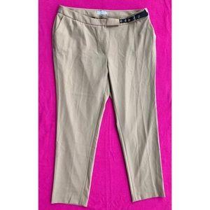 NWT CALVIN KLEIN Tan Skinny Belted Career Pants